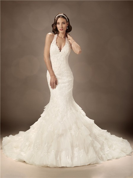 Trumpet mermaid halter chapel train sexy wedding dress for Mermaid halter wedding dresses