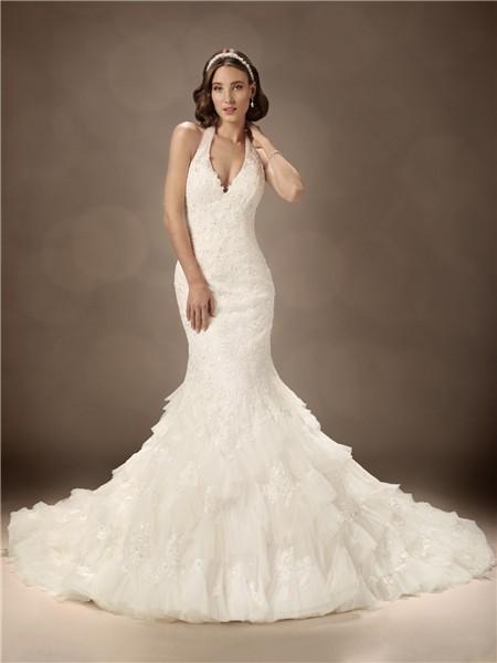 Trumpet mermaid halter chapel train sexy wedding dress for Halter mermaid wedding dress