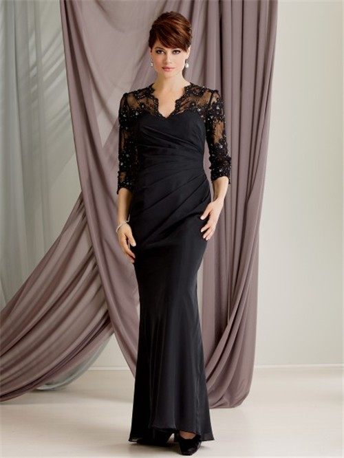 Mermaid scalloped long black lace modest mother of the bride dress ...