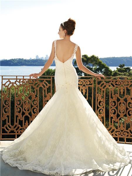 Low Back Mermaid Wedding Dress : Home ? trumpet mermaid scoop court train low back wedding dress