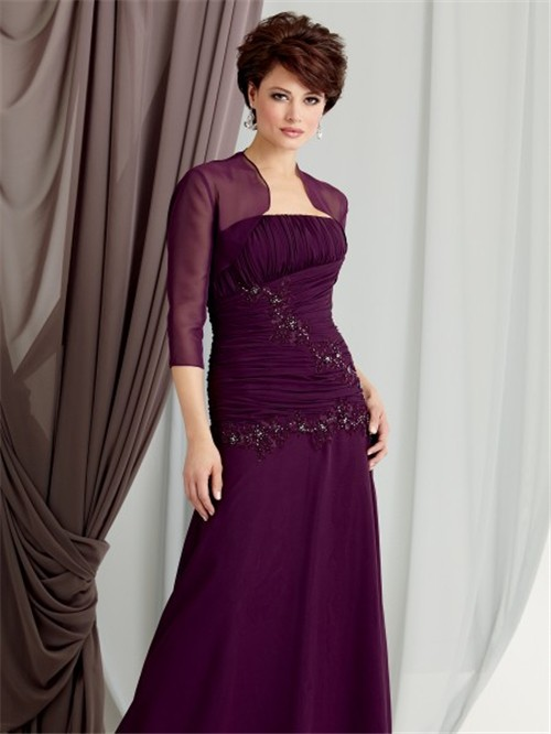 sheath strapless floor length purple chiffon mother of the bride ...