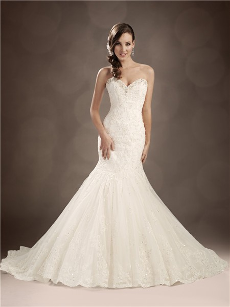 Trumpet Mermaid Sweetheart Chapel Train Beaded Lace Wedding Dress