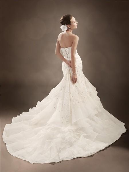 Trumpet Wedding Dresses With Ruffles : Trumpet mermaid sweetheart chapel train organza ruffles wedding dress