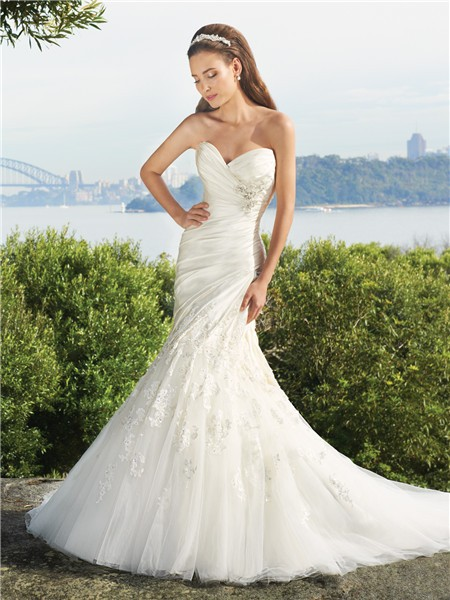 Trumpet Mermaid Sweetheart Court Train Satin Tulle Wedding Dress With Appliques