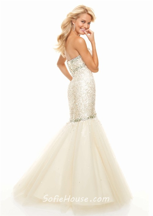 Trumpet/Mermaid sweetheart floor length champagne sequined prom ...