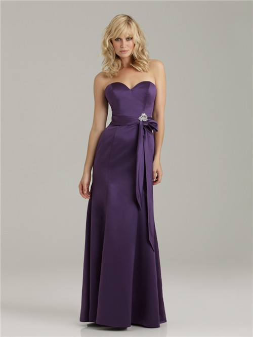 0b5b8229cd9f Trumpet/Mermaid sweetheart floor length long purple satin bridesmaid dress  with sash