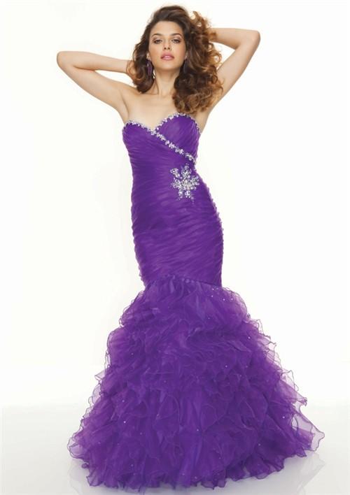 Purple Ruffle Formal Dresses
