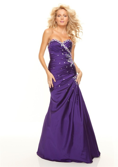 Trumpet Mermaid Sweetheart Floor Length Purple Taffeta