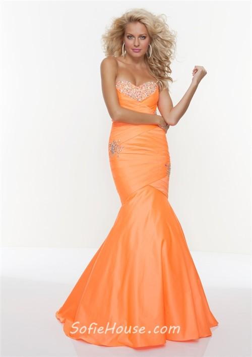 Bright Orange Mermaid Prom Dresses Trumpet/Mermaid...