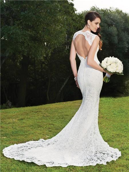 Trumpet mermaid v neck backless lace wedding dress for Backless mermaid style wedding dresses