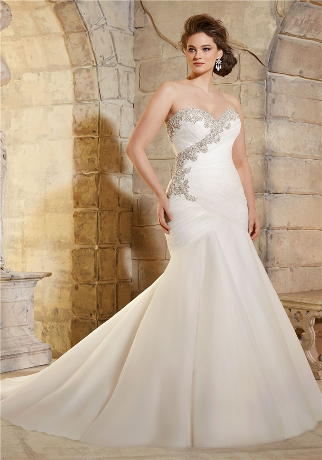 Trumpet strapless ruched tulle crystals beaded plus size for Free plus size wedding dress catalogs