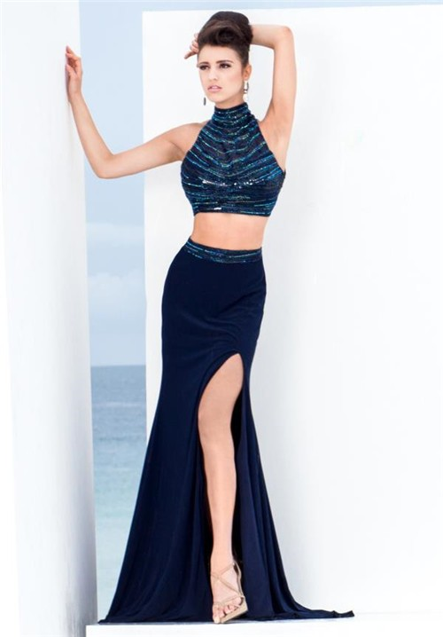 919aa455bdb Two Piece High Neck Open Back Navy Blue Chiffon Beaded Evening Prom Dress  With Slit