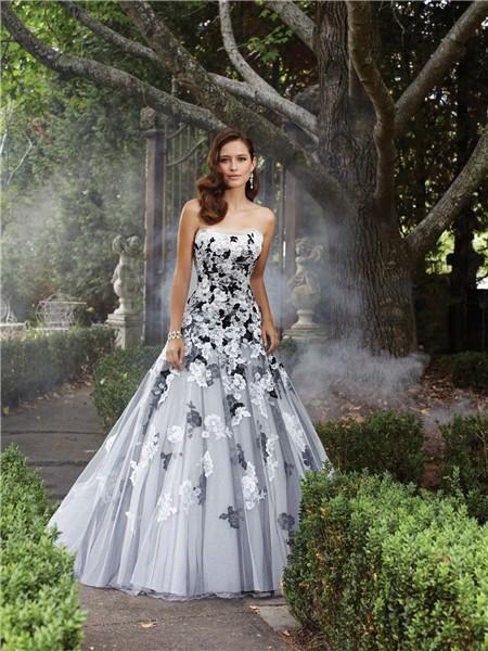 Unique a line strapless white black lace applique tulle for Black tulle wedding dress