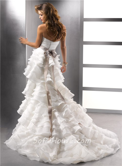 Unique a line strapless ivory tiered organza ruffles for Tiered ruffle wedding dress