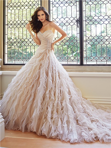 Ball Gown Srapless Sweetheart Neckline Tulle Ruffle Layered ...