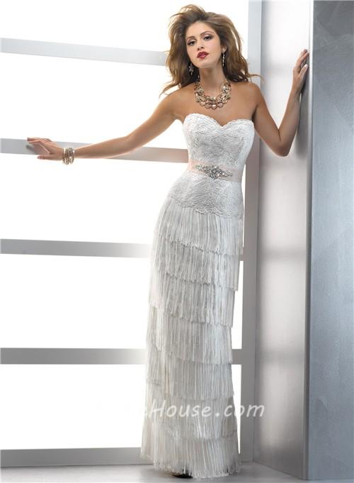 Lace and Fringe Wedding Dress