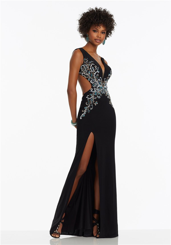 Unique Deep V Neck Side Cutout High Slit Black Jersey Beaded Prom Dress