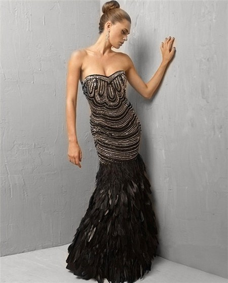 Unique Gorgeous Mermaid Strapless Long Black Feather
