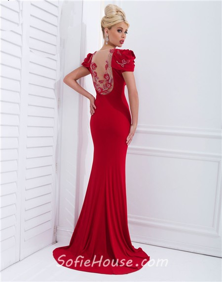 Unique Mermaid Bodycon Short Sleeve Sheer Back Long Red Chiffon ...