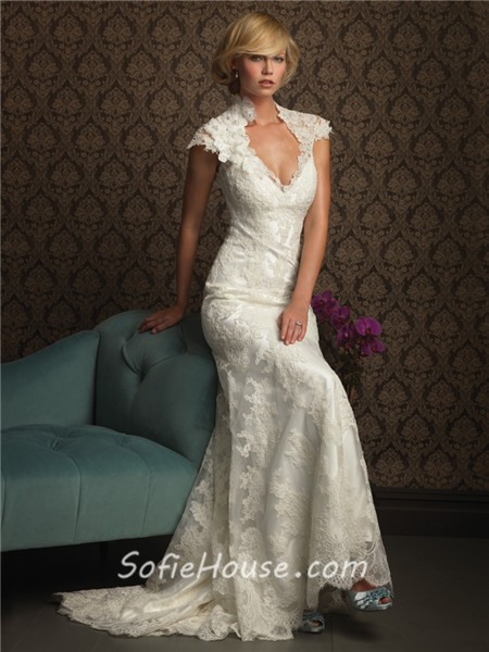 Unique mermaid cap sleeve v neck two in one lace wedding for Wedding dresses with interesting backs