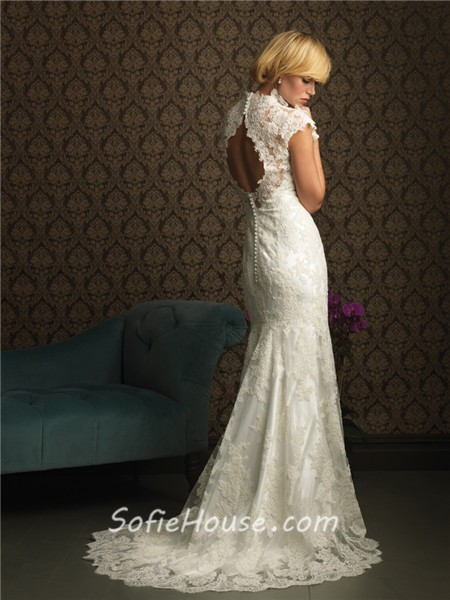 Unique mermaid cap sleeve v neck two in one lace wedding for Cap sleeve open back wedding dress