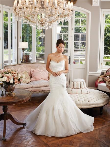 Mermaid Sweetheart Layered Organza Ruffle Wedding Dress Lace Up Back