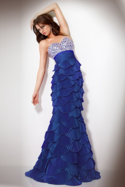 unique mermaid sweetheart tiered beaded royal blue prom