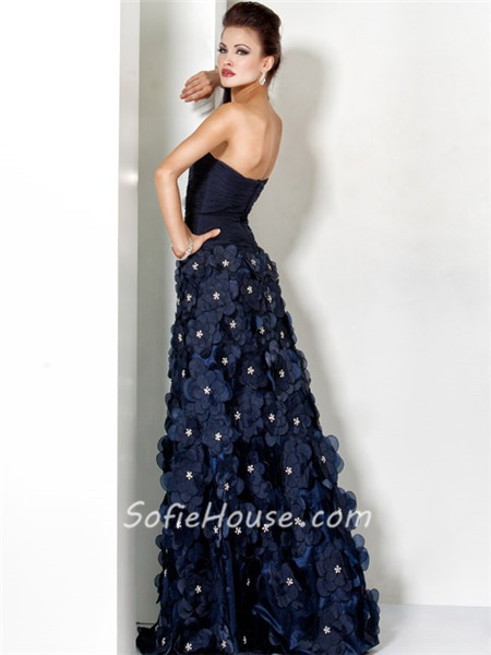 Unique Princess Sweetheart Long Navy Blue Evening Prom Dress With ...