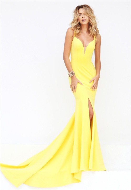 9e643ca4344 Unique Sexy Mermaid Plunging Neckline Backless High Slit Yellow Satin Prom  Dress