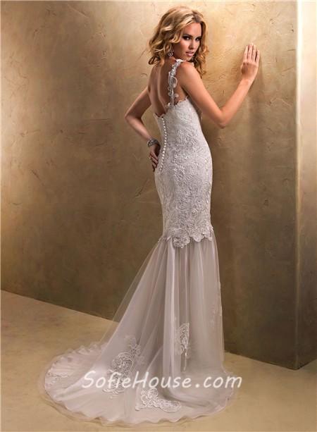 Unique sheath one shoulder venice lace tulle wedding dress for Lace one shoulder wedding dress