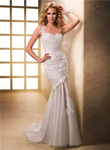 Unique Sheath One Shoulder Venice Lace Tulle Wedding Dress With Ons