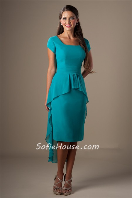 unique square neck short sleeves turquoise chiffon high