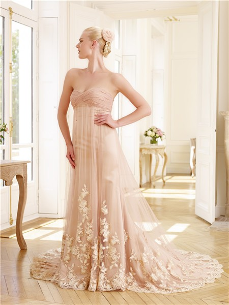 7b15067af3 Unique Strapless Sweetheart Empire Waist Peach Tulle Lace Pearl Colored Wedding  Dress