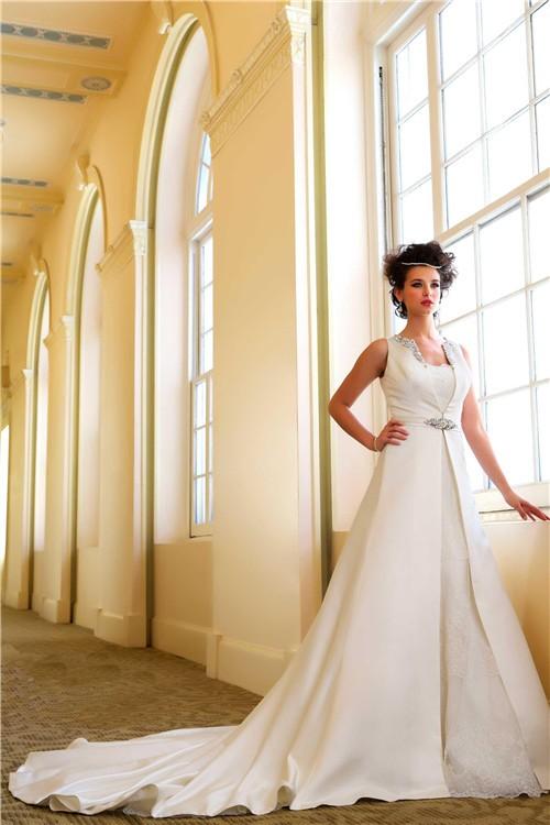 Unique two piece strapless vintage lace wedding dress with for Wedding two piece dress