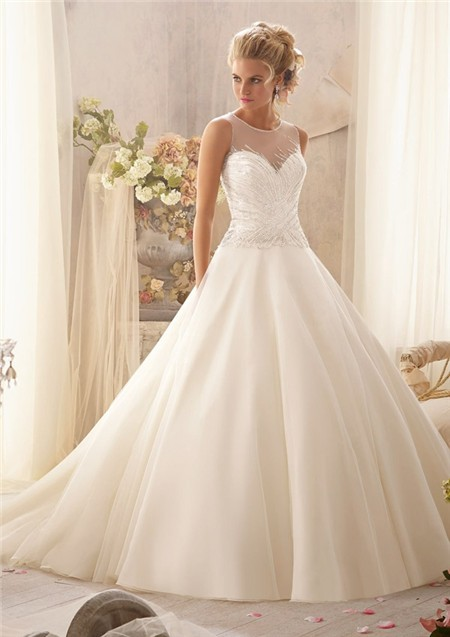 Unusual ball gown illusion neckline sheer back tulle for Wedding dresses with interesting backs