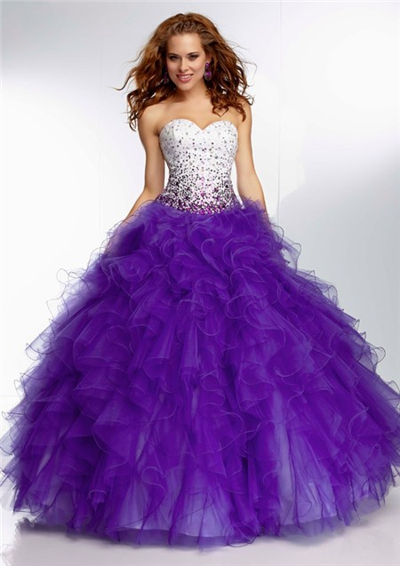 Unusual Ball Gown Sweetheart Long White Satin Purple Organza Ruffle Prom Dress