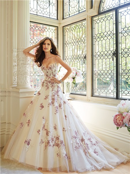 Ball Gown Wedding Dresses With Color : Unusual ball gown sweetheart spaghetti strap tulle