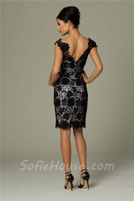 Unusual Fitted Sweetheart Short White And Black Lace Occasion Evening Dress.  Sale 106bf809c
