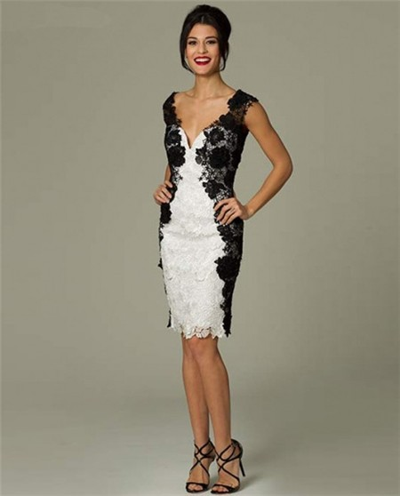 0e914c24f9706 Unusual Fitted Sweetheart Short White And Black Lace Occasion Evening Dress