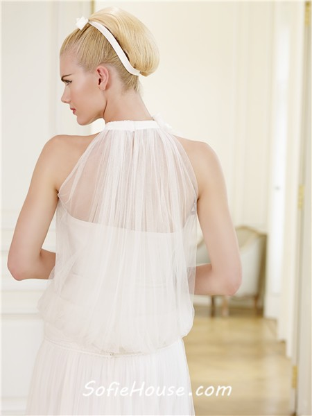 Unusual High Neck Ruched Tulle Casual Wedding Dress With Flowers Sale