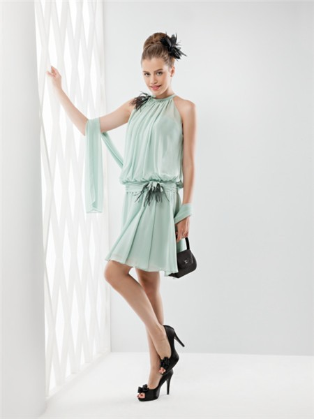 Unusual High Neck Short Mint Green Chiffon Feather Party Prom Dress ...