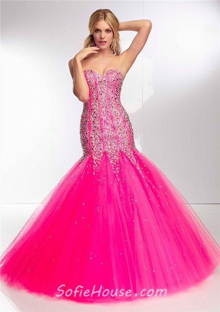 Unusual Mermaid Flared Strapless Long Watermelon Red Tulle Beaded ...