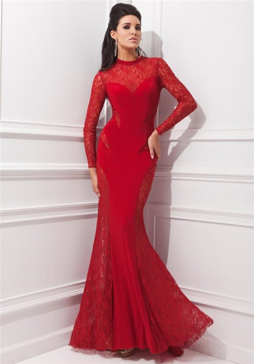 Mermaid High Neck Red Chiffon Lace Long Sleeve Evening Prom Dress
