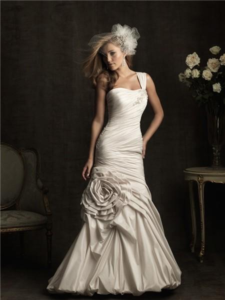 Unusual Mermaid One Shoulder Ivory Taffeta Ruched Wedding Dress With Flower