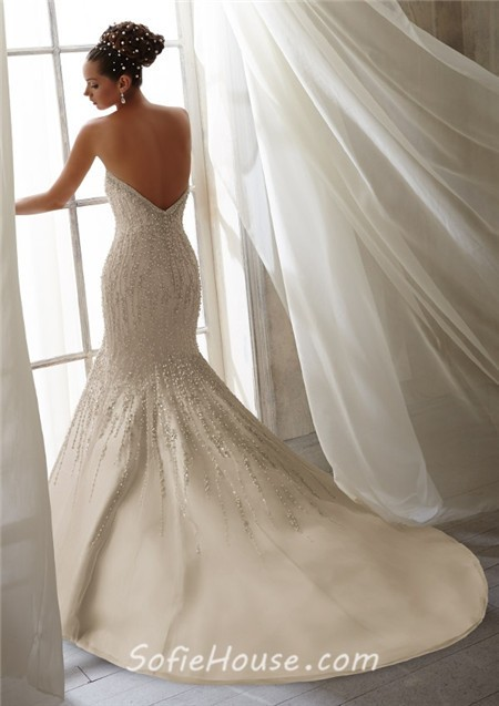 Unusual mermaid strapless scoop neck low back beaded for Beaded low back wedding dress
