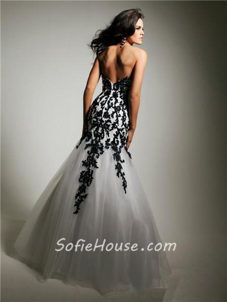 Similiar Black And White Lace Prom Dress Keywords