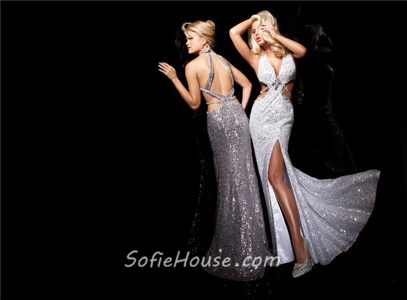 Unusual Sexy Halter V Neck White Sequined Evening Prom Dress Cut Out Backless