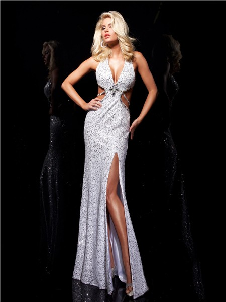 Unusual Sexy Halter V Neck White Sequined Evening Prom ...