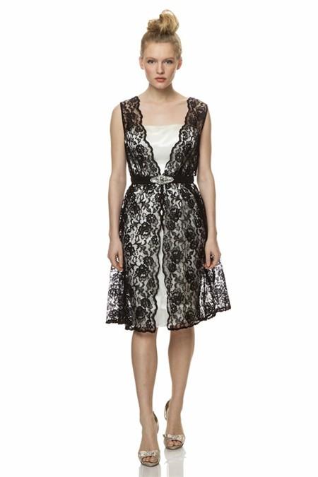 Short White Wedding Dress Black Lace : Unusual v neck short white satin black lace special