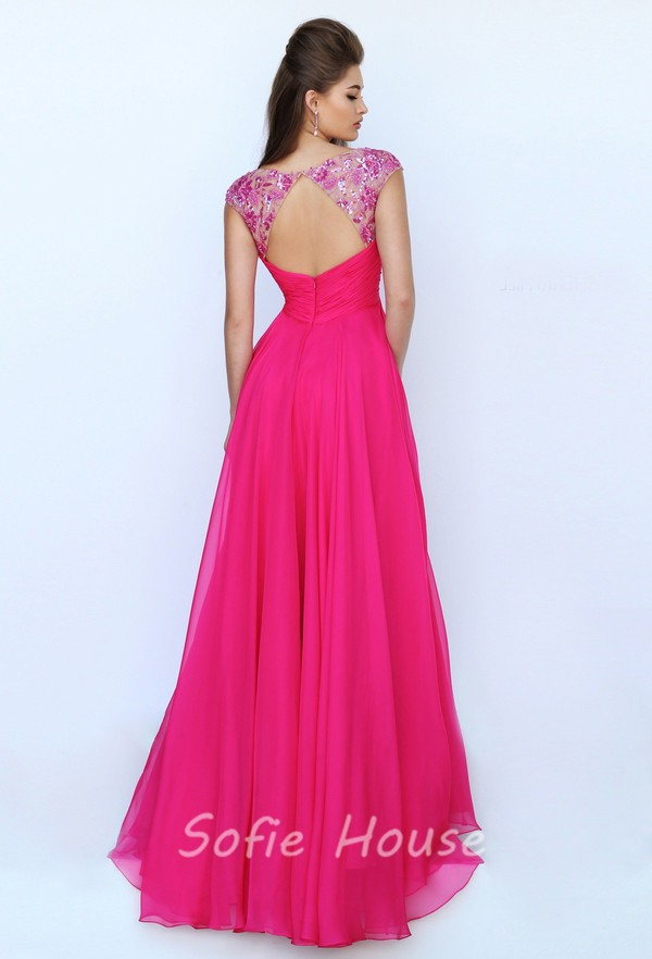 V Neck Cap Sleeve Open Back Empire Waist Long Hot Pink Chiffon ...